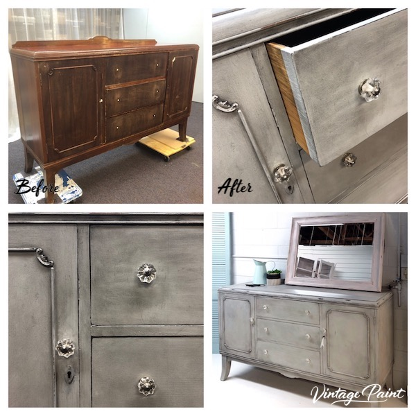 Grey Buffet with Dark Wax Finish