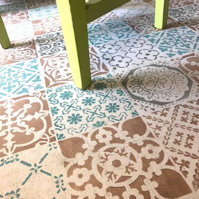 Painting floors with stencil
